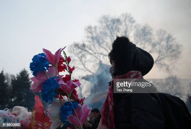 Chinese worshipper takes flower to pray for happiness and good health at the Dacheng Temple on February 16 2018 in QiqiharChina Chinese New Year is...