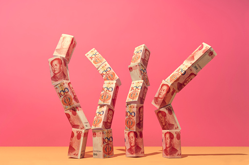 Chinese yuan money notes placed in an organic structure - gettyimageskorea