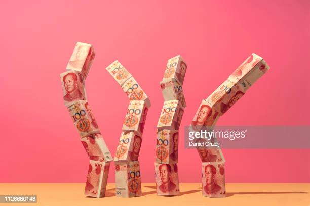 Chinese yuan money notes placed in an organic structure