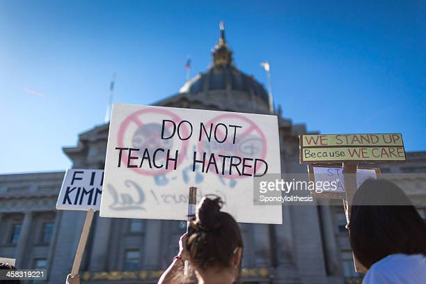 Chinese-Americans protest Kimmel skit in San Francisco - Stock Image