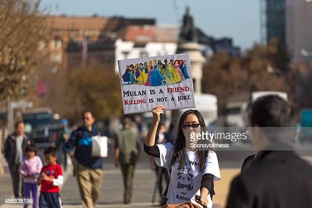 chinois-américains manifestation kimmel sketch à san francisco-image - discrimination photos et images de collection
