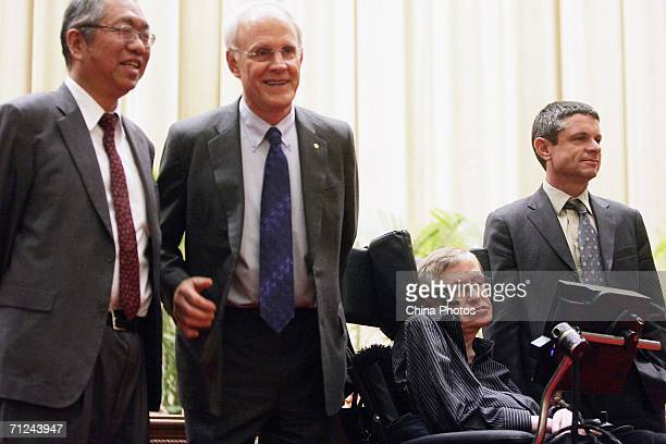 Chineseborn mathematician ShingTung Yau US physicist David Gross British scientist Stephen Hawking and US physicist Andrew Strominger attend a photo...
