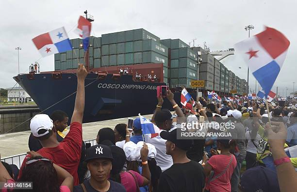 TOPSHOT Chinesechartered merchant ship Cosco Shipping Panama crosses the new Agua Clara Locks during the inauguration of the expansion of the Panama...