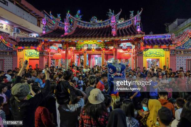 ChineseIndonesian perform Lion Dance during the 6th day of Chinese New Year celebrations or known as Cue Lak in Selatpanjang Meranti Island Regency...