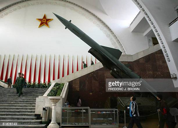 Chinesemade Hongqi2 missile on display at the Military Museum in Beijing 06 December 2004 China will urge the European Union to lift a 15yearold arms...