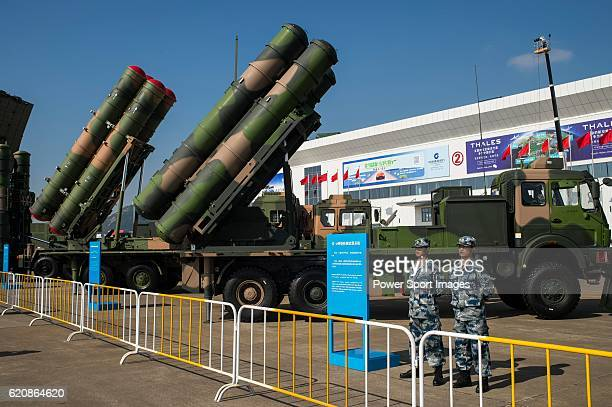 Chinesemade surfacetoair missile systems stand on display at the China International Aviation Aerospace Exhibition at China International Aviation...