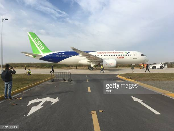 Chineseproduced passenger jet C919 is ready to take off from Shanghai Pudong International Airport on November 10 2017 in Shanghai China The...