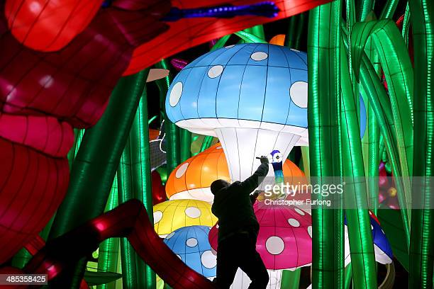 A chineses artist put the finishing touches to Illuminasia the world's biggest indoor illuminations at Blackpool Winter Gardens on April 17 2014 in...