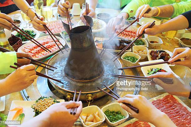Chinese-style family party like to eat hot pot