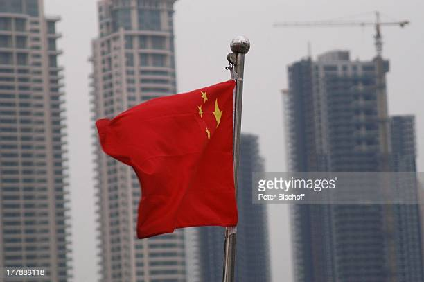 Chinesische LandesFlagge Mast Shanghai China Asien Hochhaus Wolkenkratzer Architektur Reise PH