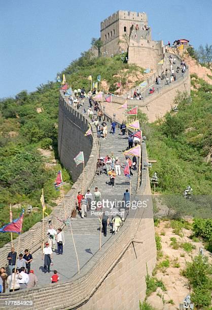 Chinesischen Mauer Beijing Peking Hauptstadt von China Asien Rundreise Reise UNESCO WeltKulturErbe Einheimische Touristen Landschaft Gebirge Berge MW...