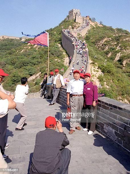 Chinesischen Mauer Beijing Peking Hauptstadt von China Asien Rundreise Reise UNESCO WeltKulturErbe Einheimische Touristen Landschaft Gebirge Berge...