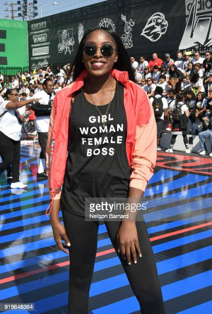 Chiney Ogunuke at adidas Creates 747 Warehouse St an event in basketball culture on February 17 2018 in Los Angeles California