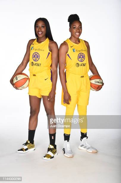 Chiney Ogwumike and Nneka Ogwumike poses for a portrait during the Los Angeles Sparks Media Day at Southwest College on May 14 2019 in Los Angeles...