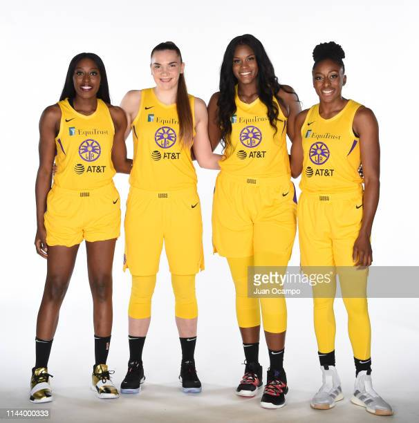 Chiney Ogwumike Maria Vadeeva Kalani Brown and Nneka Ogwumike pose for a portrait during the Los Angeles Sparks Media Day at Southwest College on May...