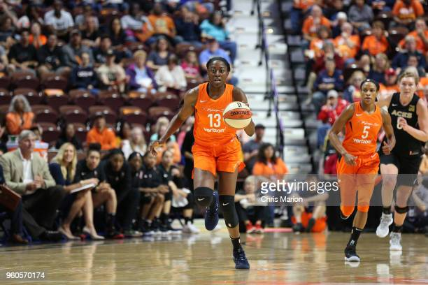 Chiney Ogwumike of the Connecticut Sun handles the ball against the Las Vegas Aces on May 20 2018 at the Mohegan Sun Arena in Uncasville Connecticut...