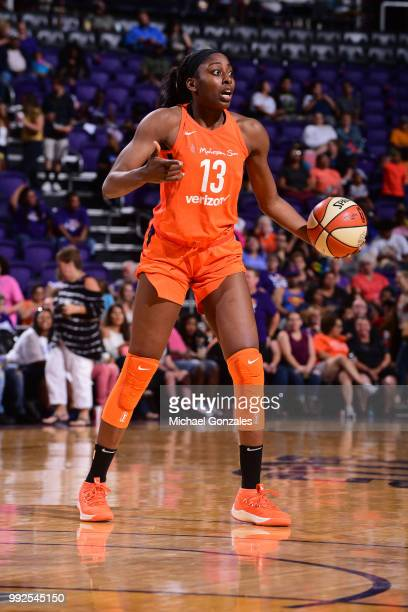 Chiney Ogwumike of the Connecticut Sun handles the ball against the Phoenix Mercury on July 5 2018 at Talking Stick Resort Arena in Phoenix Arizona...