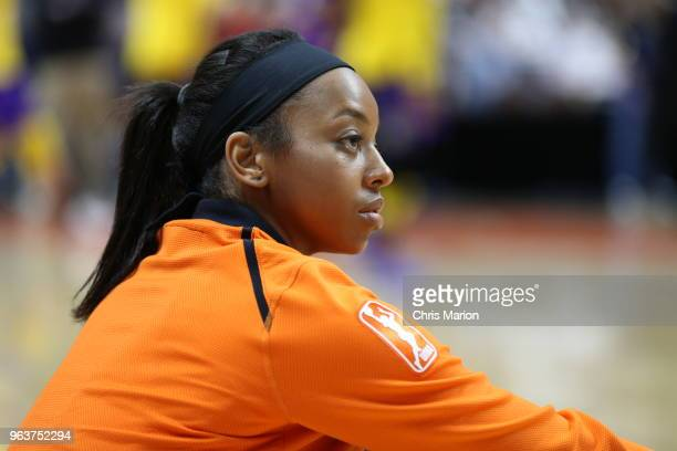 Chiney Ogwumike of the Connecticut Sun looks on prior to the game against the Los Angeles Sparks on May 24 2018 at Mohegan Sun Arena in Uncasville...