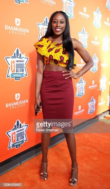 Chiney Ogwumike of the Connecticut Sun poses on the Orange Carpet prior to WNBA AllStar Welcome Reception on July 27 2018 at the Target Center in...