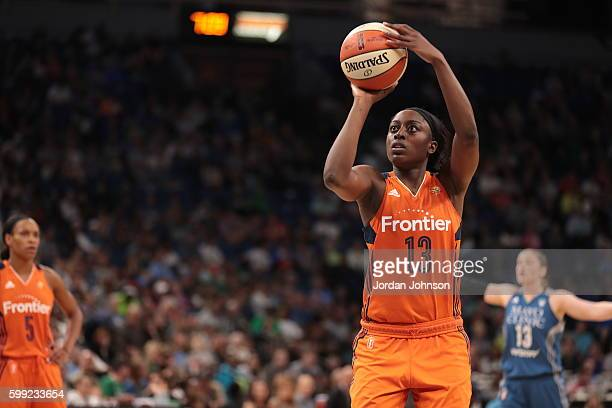 Chiney Ogwumike of the Connecticut Sun prepares to shoot a free throw against the Minnesota Lynx during a WNBA game on September 4 2016 at Target...