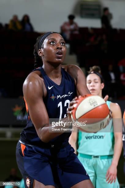 Chiney Ogwumike of the Connecticut Sun shoots a free throw against the New York Liberty on June 7 2018 at Westchester County Center in White Plains...