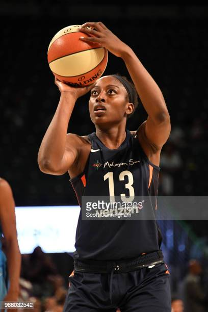 Chiney Ogwumike of the Connecticut Sun shoots the ball against the Atlanta Dream on June 5 2018 at Hank McCamish Pavilion in Atlanta Georgia NOTE TO...