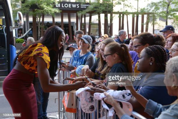 Chiney Ogwumike of the Connecticut Sun signs autographs on the Orange Carpet prior to WNBA AllStar Welcome Reception on July 27 2018 at the Target...