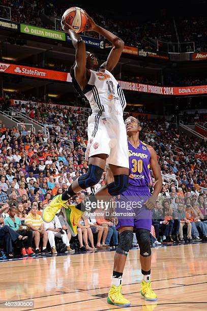 Chiney Ogwumike of the Eastern Conference AllStars shoots during the 2014 Boost Mobile WNBA AllStar Game on July 19 2014 at US Airways Center in...