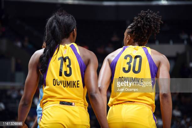 Chiney Ogwumike of the Los Angeles Sparks and Nneka Ogwumike look on during the game against the Chicago Sky on August 11 2019 at the Staples Center...