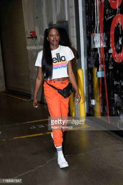 Chiney Ogwumike of the Los Angeles Sparks arrives to the game against the Minnesota Lynx on August 20 2019 at the Staples Center in Los Angeles...
