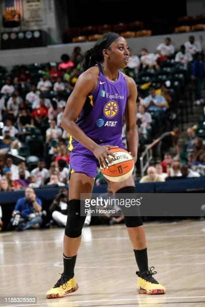 Chiney Ogwumike of the Los Angeles Sparks handles the ball against the Indiana Fever on July 12 2019 at the Bankers Life Fieldhouse in Indianapolis...