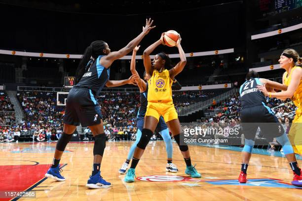 Chiney Ogwumike of the Los Angeles Sparks handles the ball against the Atlanta Dream on July 23 2019 at the State Farm Arena in Atlanta Georgia NOTE...