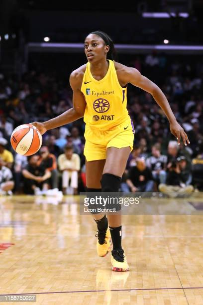 Chiney Ogwumike of the Los Angeles Sparks handles the ball against the Las Vegas Aces during a WNBA basketball game at Staples Center on June 27 2019...