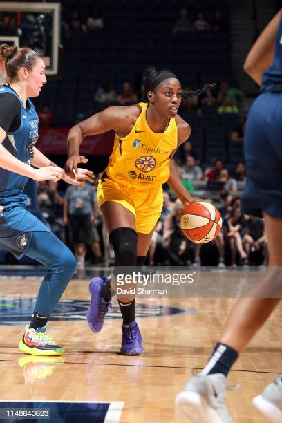 Chiney Ogwumike of the Los Angeles Sparks handles the ball during the game against the Minnesota Lynx on June 8 2019 at Target Center in Minneapolis...