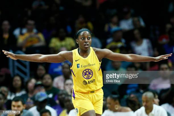 Chiney Ogwumike of the Los Angeles Sparks looks on against the Chicago Sky on June 30 2019 at the Staples Center in Los Angeles California NOTE TO...