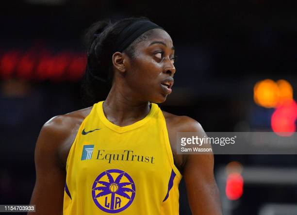 Chiney Ogwumike of the Los Angeles Sparks looks on during her team's game against the Minnesota Lynx at Target Center on June 08 2019 in Minneapolis...
