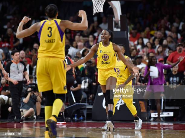 Chiney Ogwumike of the Los Angeles Sparks reacts against the Las Vegas Aces on August 31 2019 at the Mandalay Bay Events Center in Las Vegas Nevada...