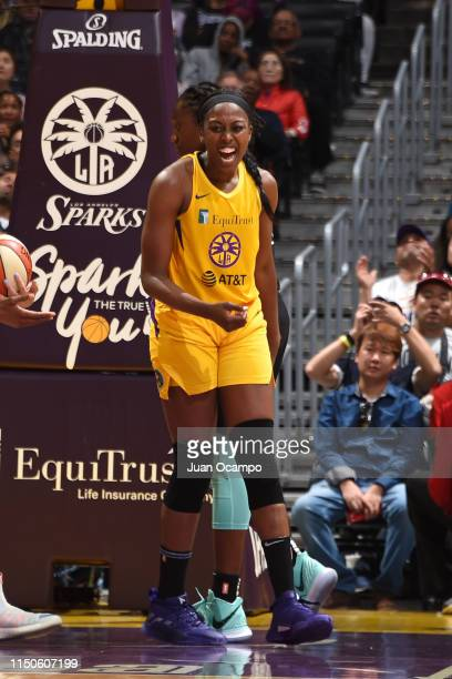 Chiney Ogwumike of the Los Angeles Sparks reacts to a play during the game against the New York Liberty on June 15 2019 at the STAPLES Center in Los...