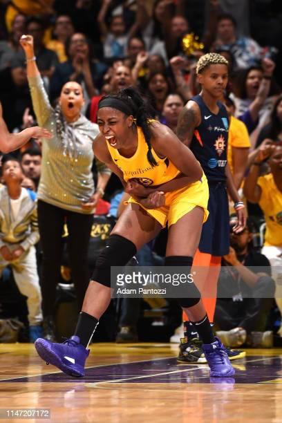 Chiney Ogwumike of the Los Angeles Sparks reacts to play against the Connecticut Sun on May 31 2019 at the Staples Center in Los Angeles California...