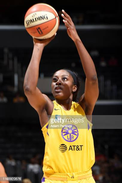 Chiney Ogwumike of the Los Angeles Sparks shoots a freethrow against the Atlanta Dream on September 3 2019 at the Staples Center in Los Angeles...