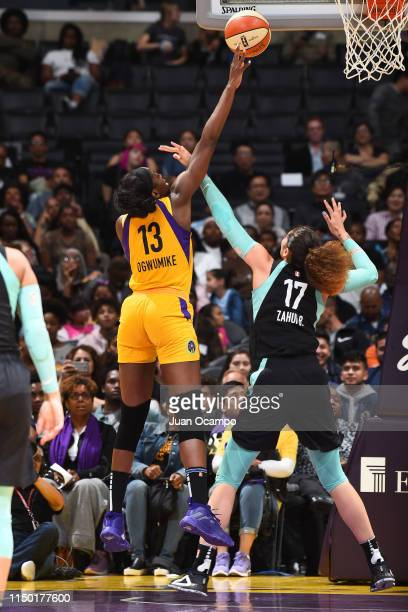 Chiney Ogwumike of the Los Angeles Sparks shoots the ball against the New York Liberty on June 15 2019 at the Staples Center in Los Angeles...
