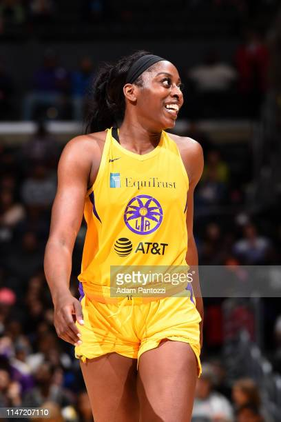 Chiney Ogwumike of the Los Angeles Sparks smiles during the game against the Connecticut Sun on May 31 2019 at the Staples Center in Los Angeles...