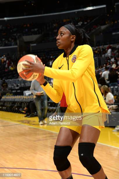 Chiney Ogwumike of the Los Angeles Sparks warms up before the game against the Chicago Sky on June 30 2019 at the Staples Center in Los Angeles...