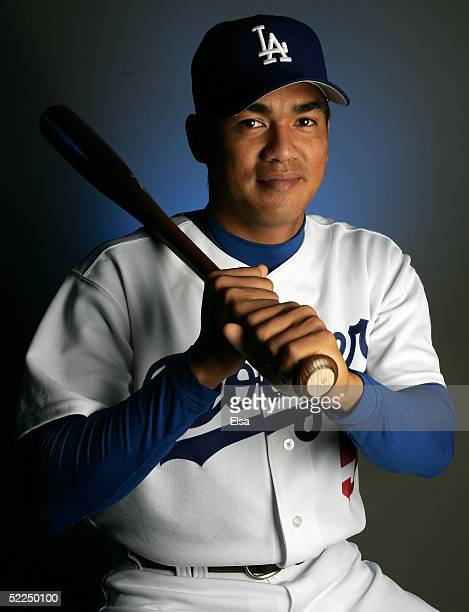 Chin-Feng Chen of the Los Angeles Dodgers poses during the Los Angeles Dodgers Portrait Day on February 27, 2005 at Holman Stadium in Vero Beach,...