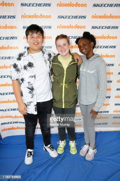 Chinguun Sergelen Reece Caddell and Aria Brooks attend the 11th Annual Skechers Pier To Pier Friendship Walk on October 27 2019 in Manhattan Beach...