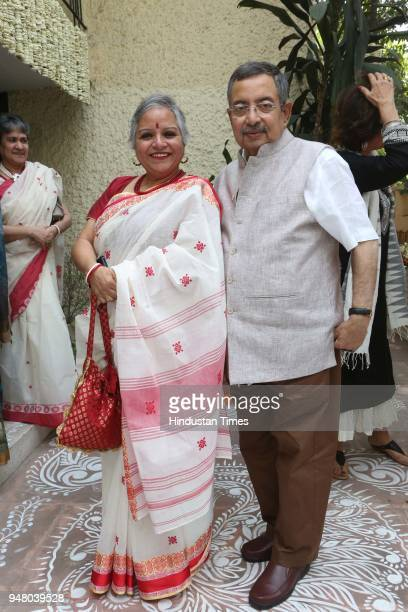 Chinna and journalist Vinod Dua during a lunch party on the occasion of Bengali New Year hosted by the designer Pranay Baidya at D85 Dron Marg...