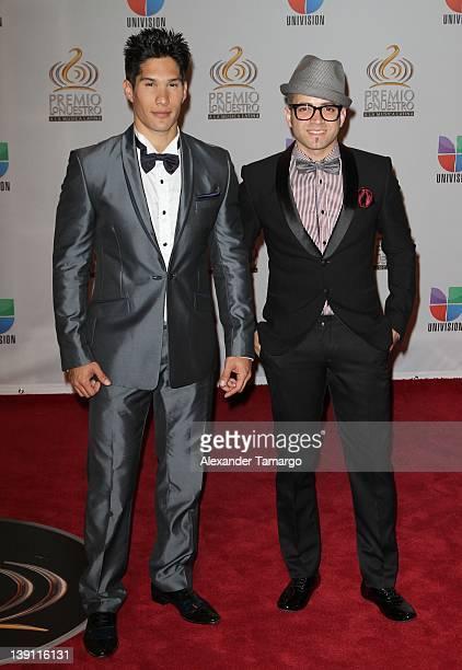 Chino and Nacho arrive at Univision's Premio Lo Nuestro a La Musica Latina at American Airlines Arena on February 16 2012 in Miami Florida