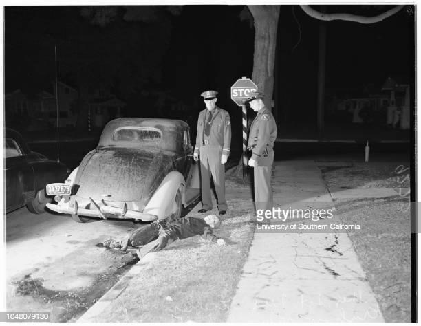 Chino convict shot, 30 August 1951. Sheriff Sergeant Fred Staebler;Deputy Max E Krukow;John Kay -- 23 years ;Charles H. Fuson -- 51 years.;Caption...