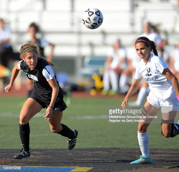 Chino Hills' Emily Sanchez left converges on the ball with Westview's Rachael Camara in the 2014 CIF SoCal Regional Soccer Championships at Warren...
