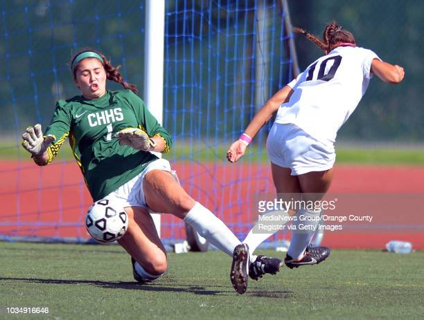 Chino Hills goalie Merrick Ives stops a shot by Westview's Marley Canales in the 2014 CIF SoCal Regional Soccer Championships at Warren High in...